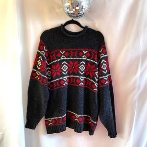 Vintage Britches Snowflake 100% Wool Ski Sweater